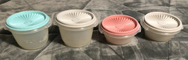 Four Vintage Tupperware Pastel Servalier Canisters 1323 & 886 w/ Lids - $19.79