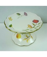 The White Barn Candle Co Ceramic Candle Pedestal Holder Autumn Leaf Floral - $14.01