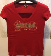 Guess Women's Red T-Shirt V Neck Cap Sleeve Gold Embellished Logo L Cotton China - $17.82