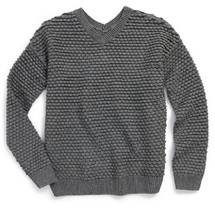Vince Girls' Textured Chunky Knit Sweater, Dark gray, Size M/m, MSRP $128 - $49.49