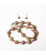 Jay King DTR 925 Sterling Silver Unakite Jasper Stone Necklace Earrings ... - $74.25