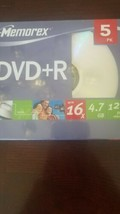Memorex DVD+R 5 Pack 16X 4.7GB Recordable 120 Min New And Sealed - $29.33