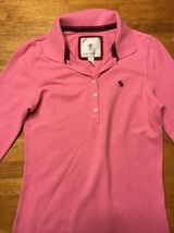 Abercrombie Girl's Pink 3/4 Sleeve Polo Shirt - Size: Large image 3