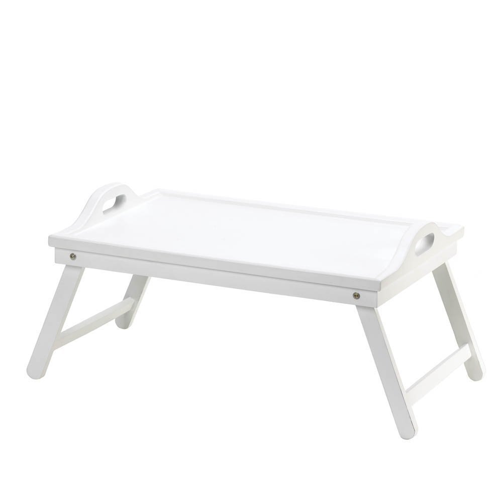 Wooden Trays, Modern Foldable Breakfast In Bed Tray, White Folding Bed Tray