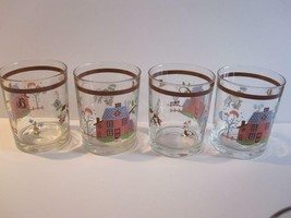 "4 Farm Country Scene Drinking Glasses 4"" Tall Brown Band Unmarked 12 Oz - $12.16"