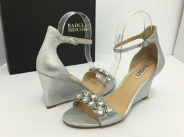 Badgley Mischka Clear Silver Metallic Evening Wedge High Heel Sandals US... - $67.71