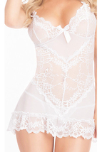 Unomatch Women Loose Waist Transparent Lace Designed Short Lingerie White - $19.99