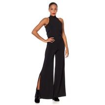 G Giuliana Sleeveless Tie-Back Mock-Neck Halter Jumpsuit BLACK M NEW 576... - $51.46