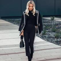 Ladies Celebrity Designer Gold Riveted Black Blazer Jacket + Matching Pants Suit