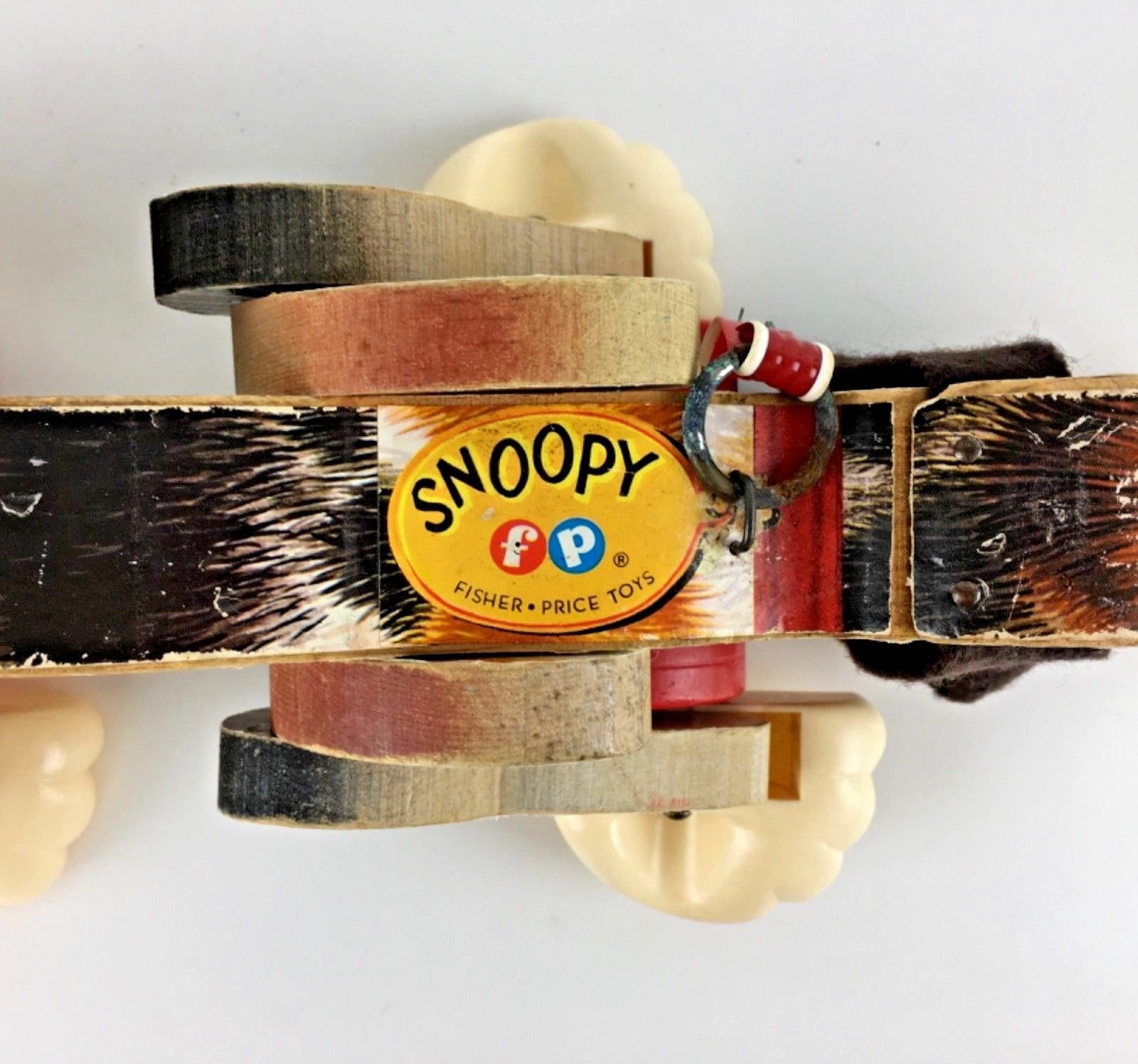 Fisher Price Snoopy Dog Vintage Wooden Pull Toy 1961 Toy 181 Spots Works Gift