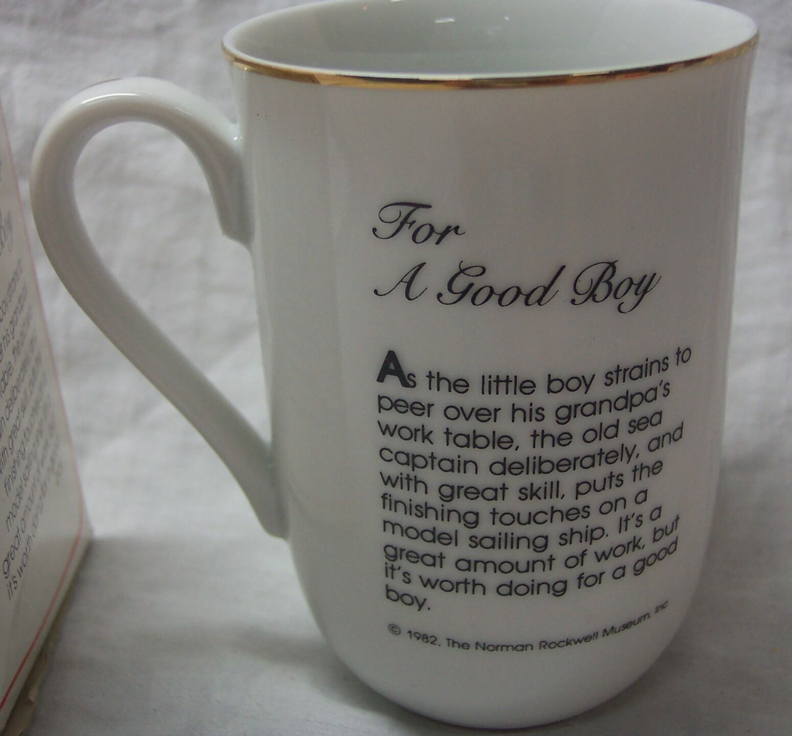 """1982 Norman Rockwell """"FOR A GOOD BOY"""" 4"""" COLLECTIBLE CERAMIC MUG NEW IN BOX"""