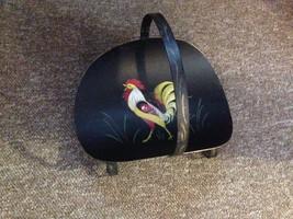 Wonderful Tole Painted Rooster chicken metal Handled Holder Basket Signed - $24.75