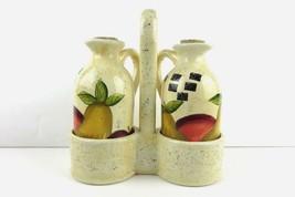 Ceramic  Apple Pear 3 Piece Oil and Vinegar Drizzler Cruet Set - $8.91