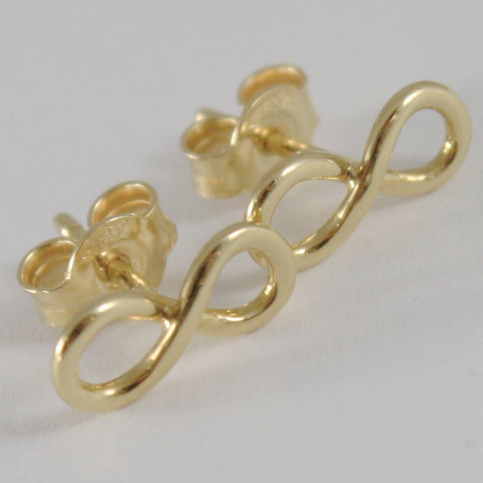 Gelbgold Ohrringe, Pink oder Weiß 750 18K, Symbol Infinito, Länge 1.0 CM