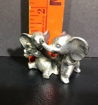 Miniature Pewter Elephant Figurines Playing - $9.89