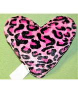 WALMART PINK LEOPARD PATTERN PILLOW PLUSH HEART STUFFED ANIMAL DECORATIV... - $11.75