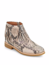 Kate Spade New York Betsie Too Fringed Snake-Embossed Leather Ankle Boots - $139.99
