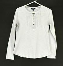 Chaps Women's M Ruffle Lace Henley Neck Long Sleeve Cotton T-Shirt White - $14.99