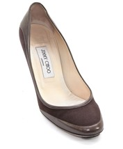 JIMMY CHOO Pump Brown Canvas Leather Rounded Toe Heel Shoe 37.5 - $173.25