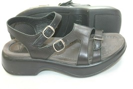DANSKO SANDI  Buckle Slingbacks Sandals 37 Clogs Black Leather Comfort US 7-7.5 - $29.70