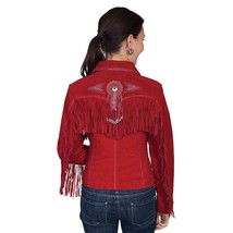 QASTAN Women's New Red Fringes / Concho Suede Cow Leather Jacket WWJ14E image 2