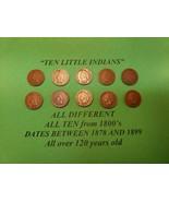 Ten Little Indians Head Pennies 1 Cent US Coins Penny Lot 1878 - 1899 fr... - $29.69