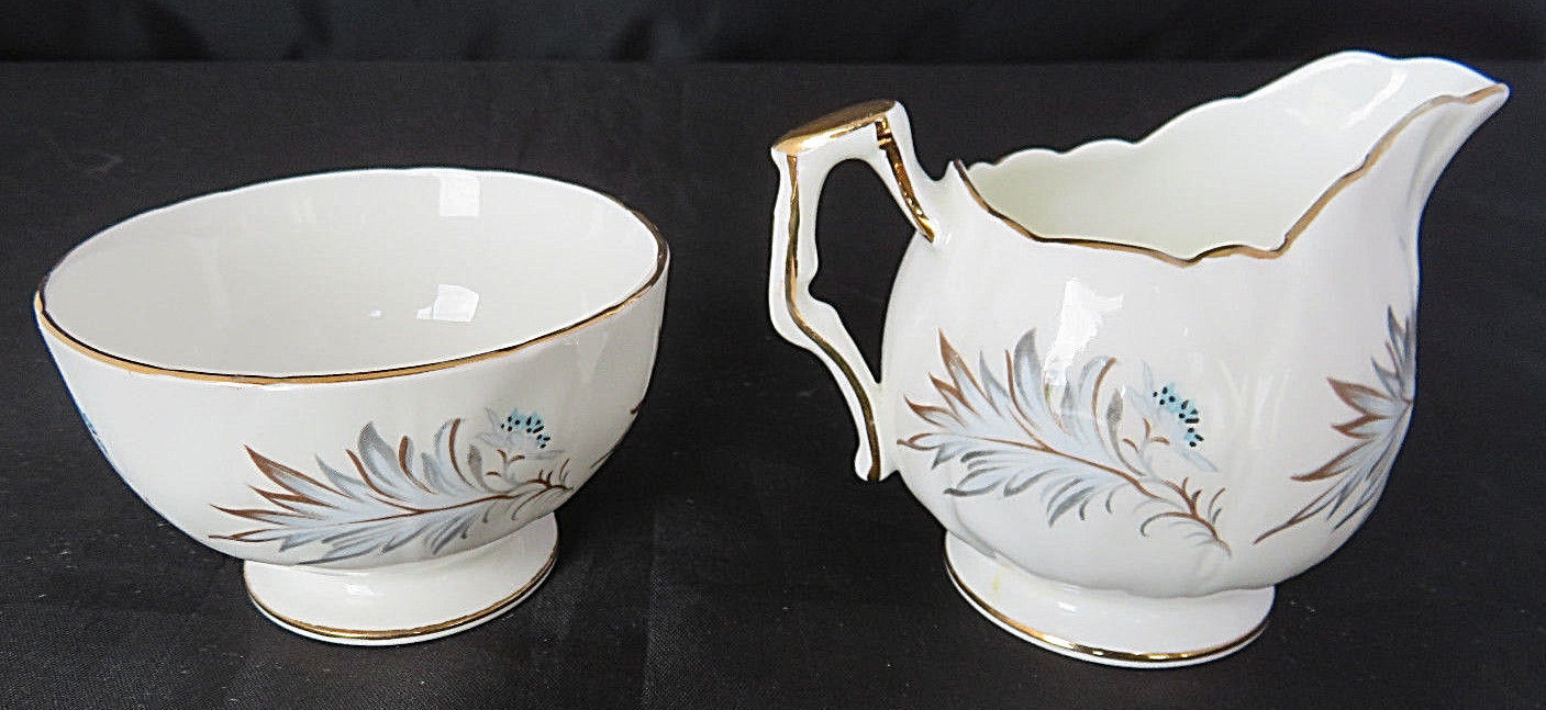 "Vintage Aynsley England Bone China Blue Flowers Creamer and Sugar Bowl 3"" Tea"
