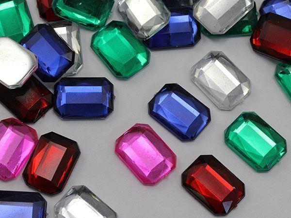 18x13mm Pink JG03 Flat Back Octagon Acrylic Gemstones For Crafts - 30 PCS
