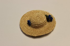 Vintage Ginny Doll Straw Hat blue flowers accessory fits Madam Alexander... - $39.95