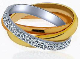 Women's Diamond Trinity Eternity Wedding Band Ring 18k Multi-Tone Gold 0... - £1,429.57 GBP