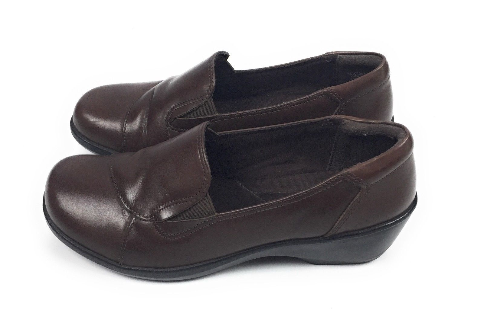 Clarks Esha Haven #26101991 Leather Comfort Slip On Shoes Brown Women's 7.5M US