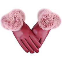 Warm Vegan Leather Gloves Women Thick Winter Mittens Luxury Touch Screen... - $9.49