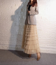 Deep Champagne Layered Tulle Skirt Outfit Long Tiered Tulle Skirt Plus Size  image 7