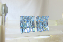 Vintage Stunning Blue Rhinestone Baguettes Silver Plate Curved Square Ea... - $22.50