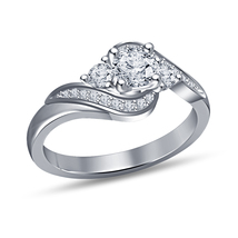 14K White Gold Plated Solid 925 Sterling Silver White Diamond Engagement Ring - $74.98