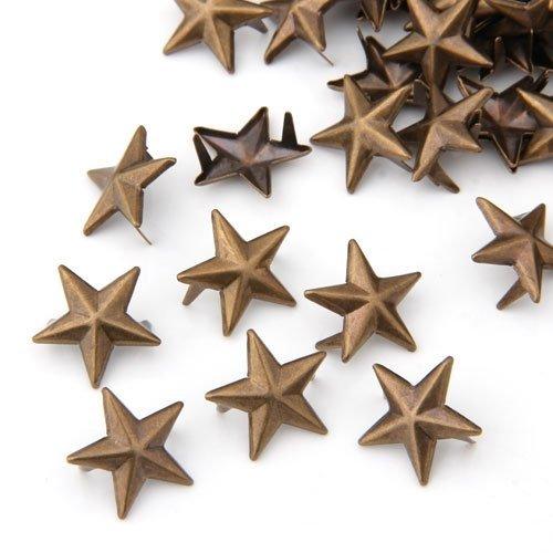 THGS 100X Bronze Rivets applies 15mm star bag / Shoes Gloves