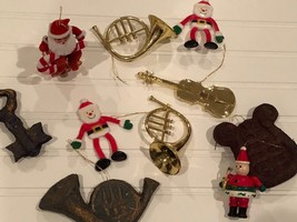 Lot of 10 Vintage Christmas Tree Ornaments Musical Instruments  + More - $6.68