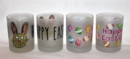 4 (2 Ea) Culver Frosted Happy Easter Bunny Eggs Dof Low Ball Glass Tumblers New - $49.99