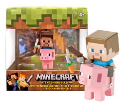 Minecraft Deluxe Steve on Saddled Pig Mini Figure New in Box - $14.88