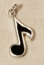 BLACK ENAMEL MUSIC NOTE  STAMPED .925 Solid Sterling Silver Charm Musical image 1