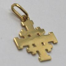 Pendant Jerusalem Cross, 750 18k Yellow Gold, finely worked image 3