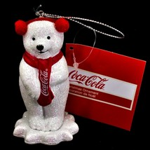 "Kurt S. Adler Coca-Cola Glitter Polar Bear Cub 3.5"" Christmas Ornament"