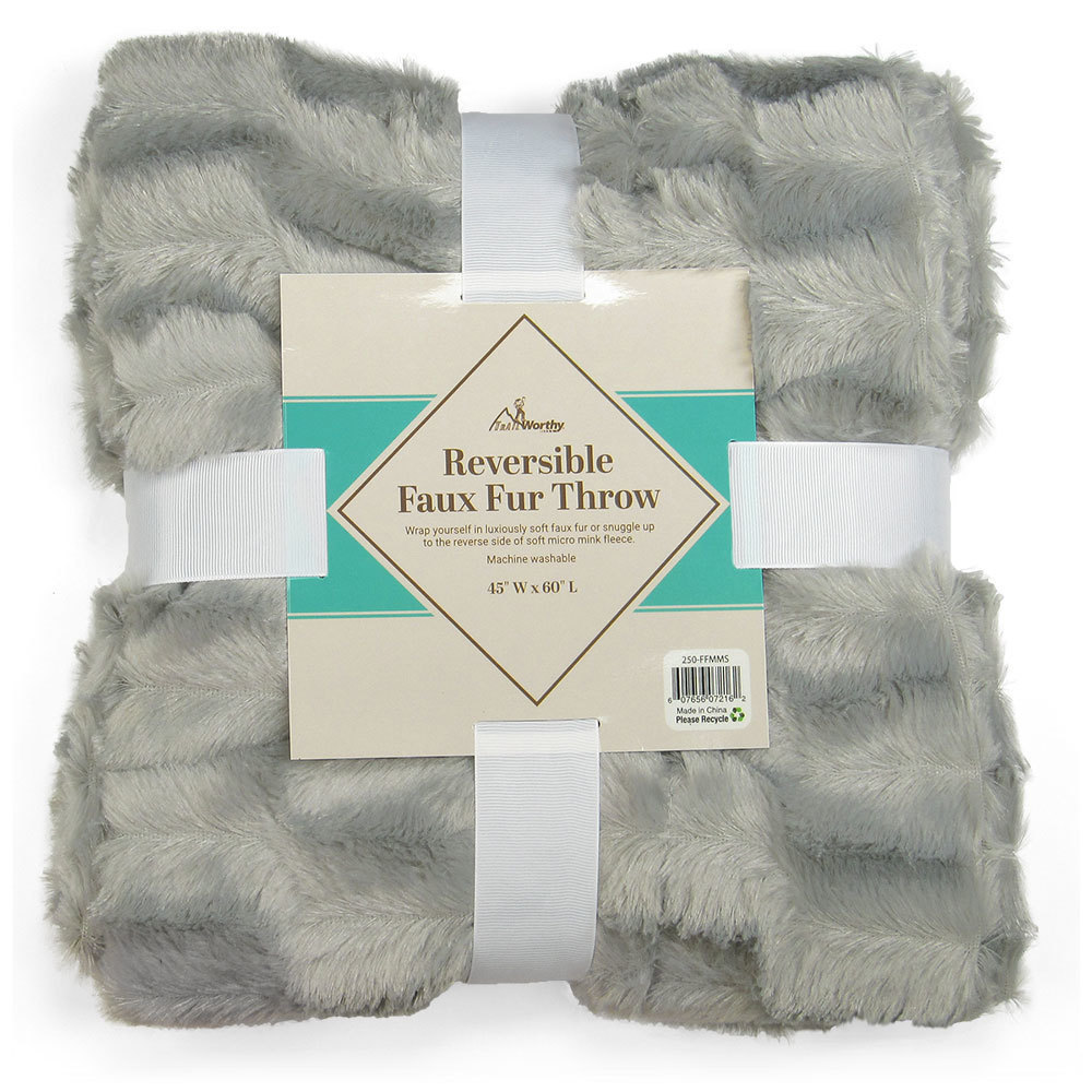 Case of [10] TrailWorthy Faux Fur Micro Mink Blanket - Silver