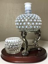Vintage Fenton White & Blue Opalescent Hobnail Perfume Bottle No Stopper... - $34.00
