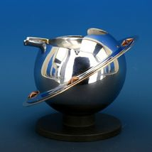 Art Deco 1939 Revere Saturn Syle Nickel Plated Brass & Copper Ash Tray Receiver image 5