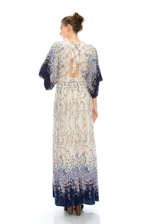 Lacey Cream and Purple Romantic Maxi Dress S M or L