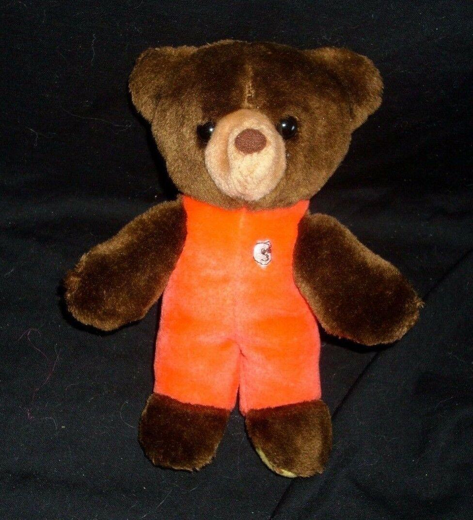 """9 """" Vintage 1982 Gund Baby Braun Teddybär Plüschtier Spielzeug Rot Outfit"""