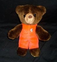 """9 """" Vintage 1982 Gund Baby Braun Teddybär Plüschtier Spielzeug Rot Outfit - $26.30"""