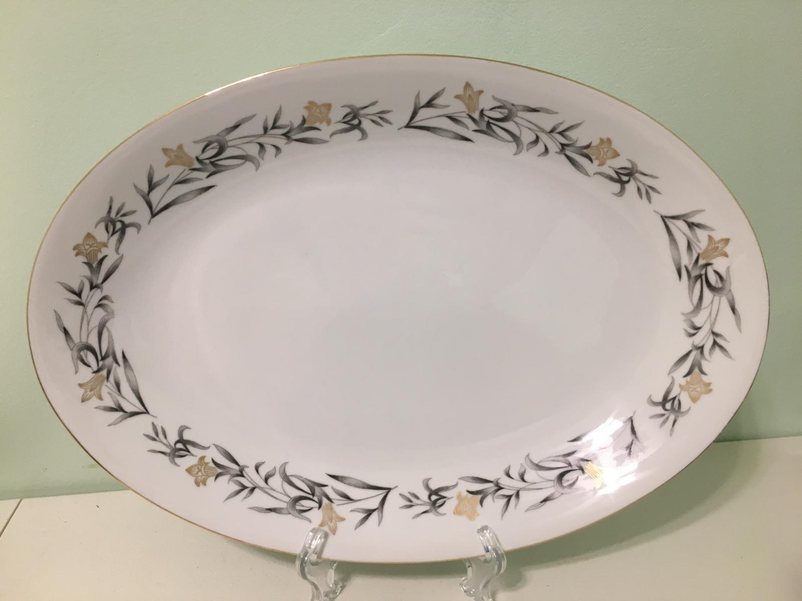 Arlen Fine China Regency Oval Serving Platter~Gold Flowers, Gray Leaves, & Gold  - $34.65