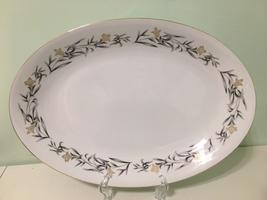Arlen Fine China Regency Oval Serving Platter~Gold Flowers, Gray Leaves,... - $34.65